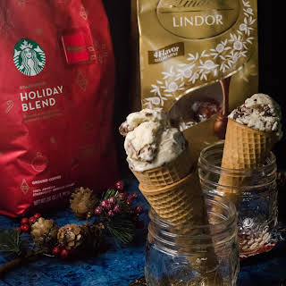Mocha Crunch Ice Cream with Starbucks® Holiday Blend 28 oz ground coffee and Lindt Chocolate Assorted Lindor Truffle Bag - 19 oz.