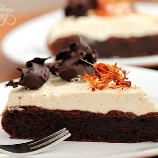 Flourless Chocolate Cake with Salted Caramel Mousse.