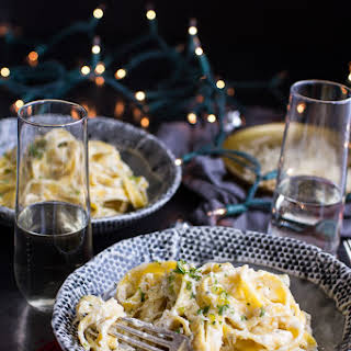 One-Pan Baked Champagne Cream Sauce Fettuccine with Truffle Oil..