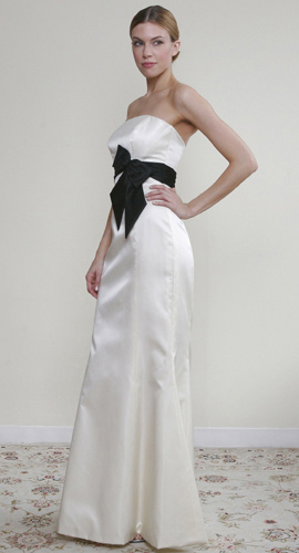 Ivory Bridesmaid Dress + Black Sash
