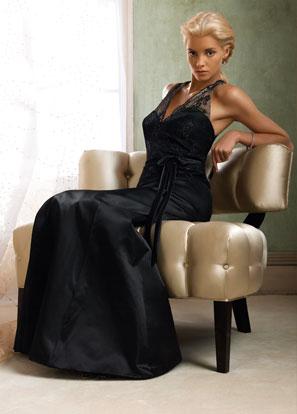 Black Bridesmaid Dress Halter Neck