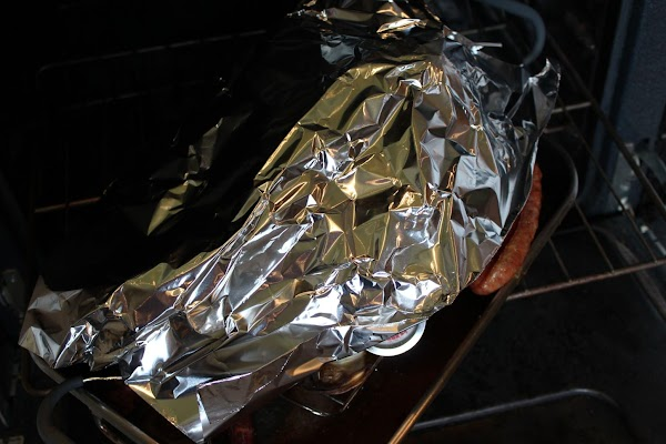 Cover breast loosely with foil to prevent over browning of skin.