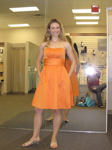 Cute Orange Strapless Bridesmaid Dress