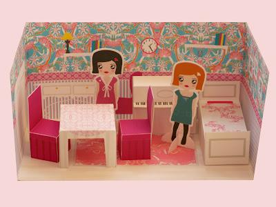Casita de papel habitaci n recortable for Muebles de cocina alve