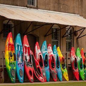 Colorful Kayaks in a Row by Kevin Beasley - Transportation Boats ( line, row, kayak, water, water sport, colorful, boat,  )