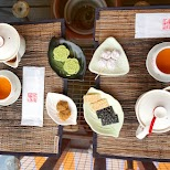 tea ceremony at A-Mei tea house in Jiufen in Jiufen, T'ai-pei county, Taiwan