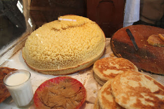 Photo: Moroccan crêpes, crumpets and semolina cakes.