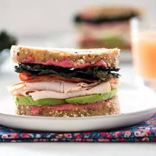 Crispy Kale Turkey and Ham Sandwiches with Beet Mayo.