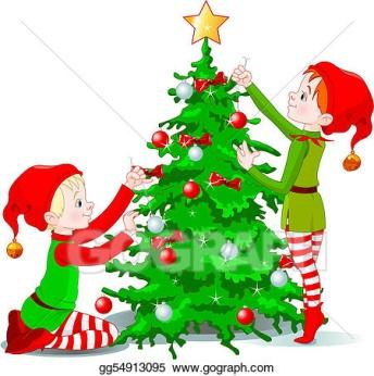 Image result for decorating christmas tree clipart