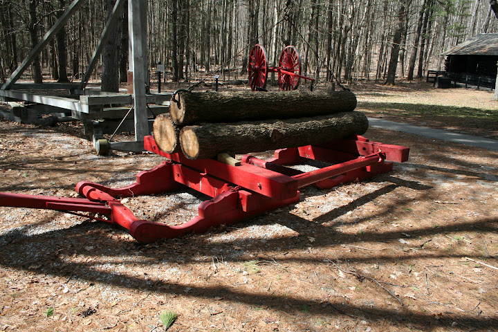 This is a photo of a sled used in the logging process. The picture is taking at the logging museum located on the guided trial of Hartwick Pines. This gives you a clear visual of the amount of labor and strain that went into each cut. The efficiency of production is also a factor in this picture being the little amount of log capacity of the sled. The implementation of the railroad and the rotation of methods depending on the season made production more efficient .- Ashley Holloway