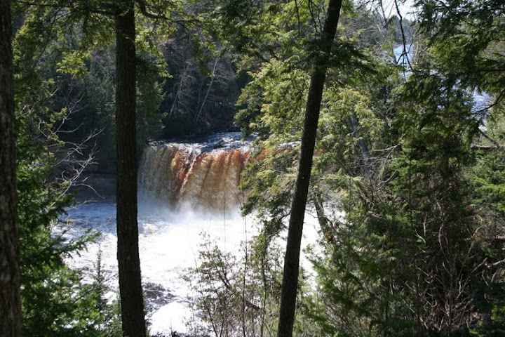 Here is another view of the falls through some of the trees bordering the edge of the walkway down to the bottom. Most of the State Park is undeveloped without roads, telephones, etc. The Upper Falls showcased in this image is one of the largest east of the Mississippi River.-Ashley Holloway