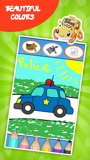 汽车着色书的孩子:孩子们的游戏