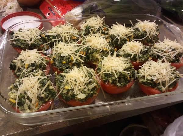 Cheesy Tomato Cups With Creamed Spinach Recipe