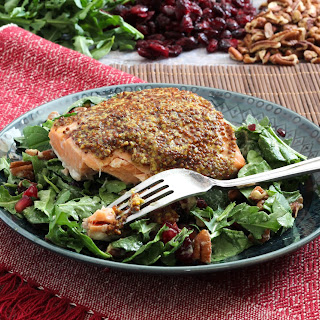 Mustard Crusted Salmon with Arugula and Spinach Salad