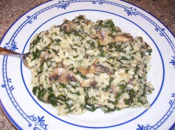 Risotto With Spinach And Mushrooms