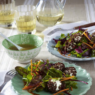 Mixed Greens with Rye Crusted Cheese Balls.
