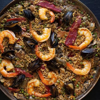 Paella with Chorizo, Chicken, and Shrimp (Paella Mixta)