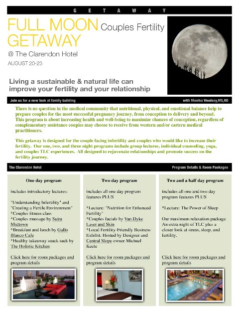 Reminder: Low season rates for our Full Moon Couples Infertility Getaways are coming to a close