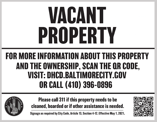 A new Baltimore law requires QR codes on vacant properites