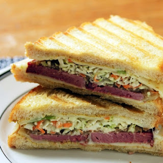 Corned beef, Swiss cheese and caramelized onion Reuben sandwich