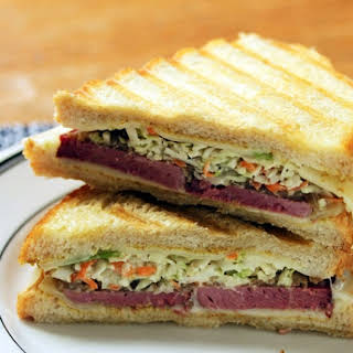 Corned beef, Swiss cheese and caramelized onion Reuben sandwich.