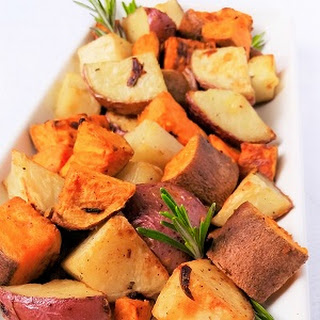 Garlic Rosemary Roasted Sweet & Red Potatoes