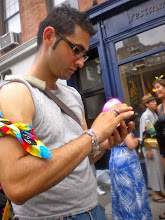 Photo: Gay pride festivities at AOC l'Aile ou la Cuisse, 314 Bleecker Street, Greenwich Village, 26 June 2011. (Photograph by Elyaqim Mosheh Adam.)