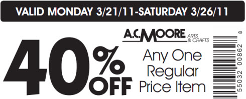 AC Moore coupon 40% Off March 2011