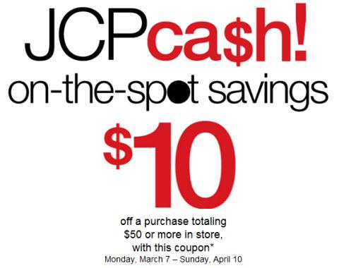 JCPenney Cash Coupon March April 2011