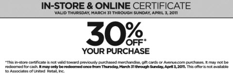 Avenue coupon code april 2011