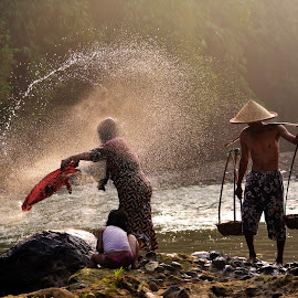 splash ! by Yadi Setiadi - People Street & Candids ( water, village, splash, oldman, couple, people, river )