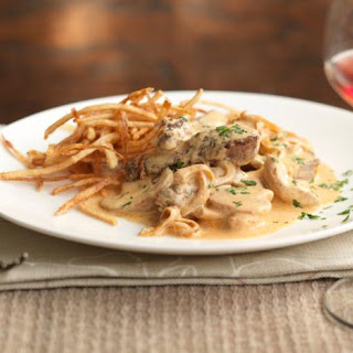 Beef Stroganoff With Matchstick Potatoes.