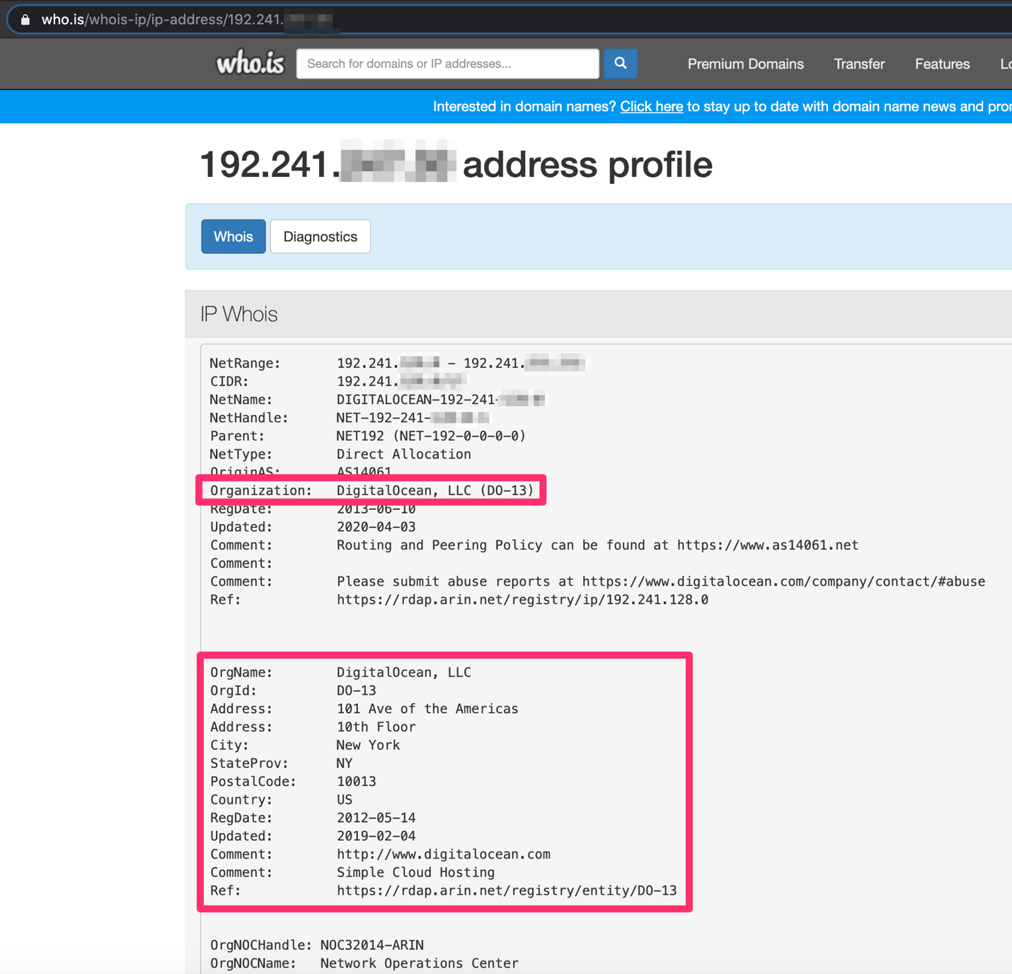 Screenshot of the IP address organization being DigitalOcean, LLC in New York for one of the tracking pixel hits during this phishing email attack by the White Oak Security blog.