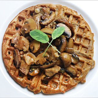 Savory Waffles with Mushrooms and Braised Veal.