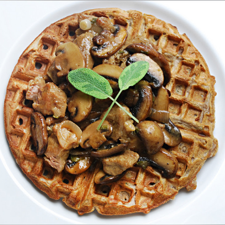 Savory Waffles with Mushrooms and Braised Veal Recipe