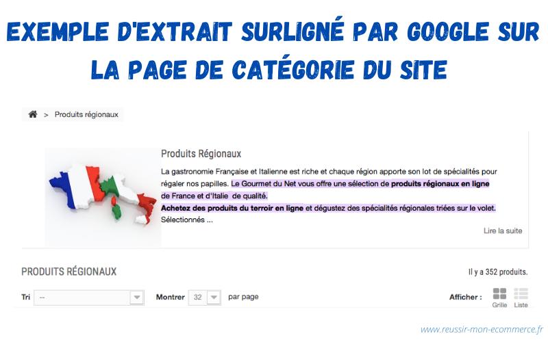 Exemple d'extrait surligné par Google sur la page de catégorie du site