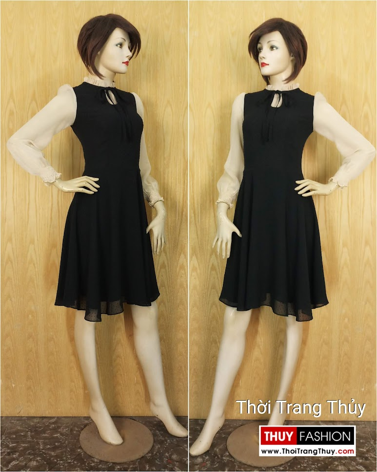 Váy xòe liền qua gối dài tay vải voan V652 Thời Trang Thủy