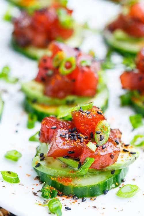 "Spicy Tuna and Avocado Cucumber Sushi Bites ""Light and healthy spicy tuna..."