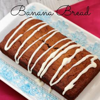 Bourbon Banana Bread with Cream Cheese Glaze