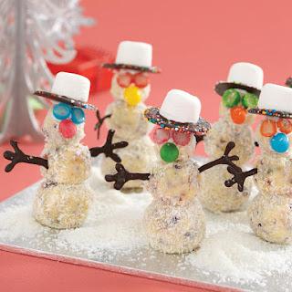 White Chocolate Truffle Snowmen.