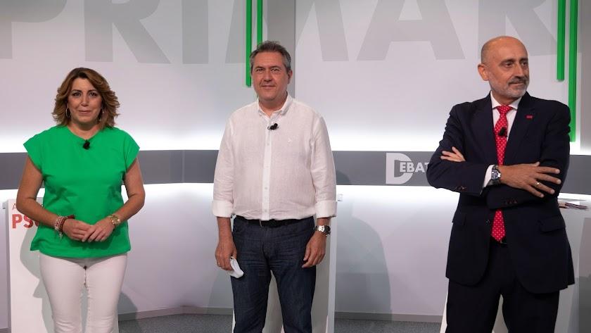 Los tres candidatos de las primarias del PSOE-A.
