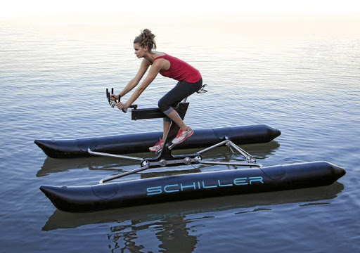 Hybrid: The Shiller Bike — part bicycle, part catamaran — is claimed to be supersafe. Picture: SUPPLIED