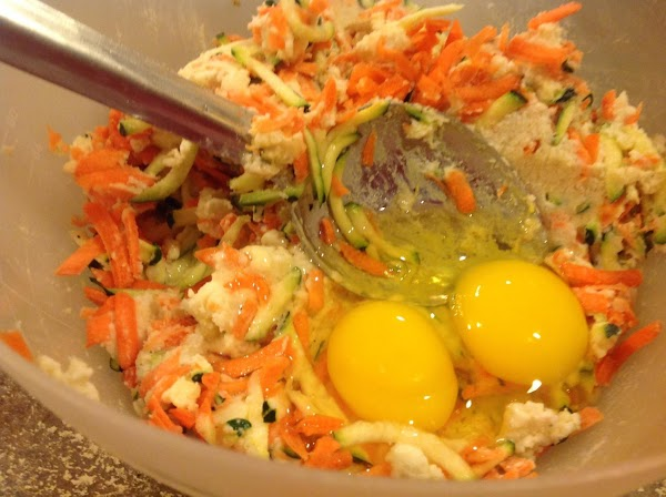 Add in the large eggs, and blend together with the potato mixture.