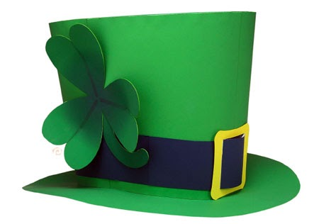 2011 st patrick 39 s day papercraft shamrock top hat for Leprechaun hat template printable