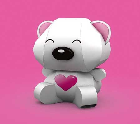 Valentine's Day Bear Papercraft