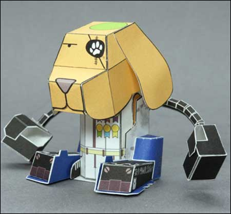 INU06B Bow Power Armored Dog Papercraft