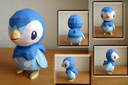 Pokemon Piplup Papercraft 4