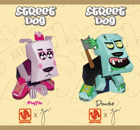 Street Dog Paper Toy Dombie Puffie