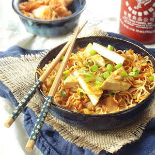 Stir-Fried Kimchi Ramen with Tofu and Peanuts.