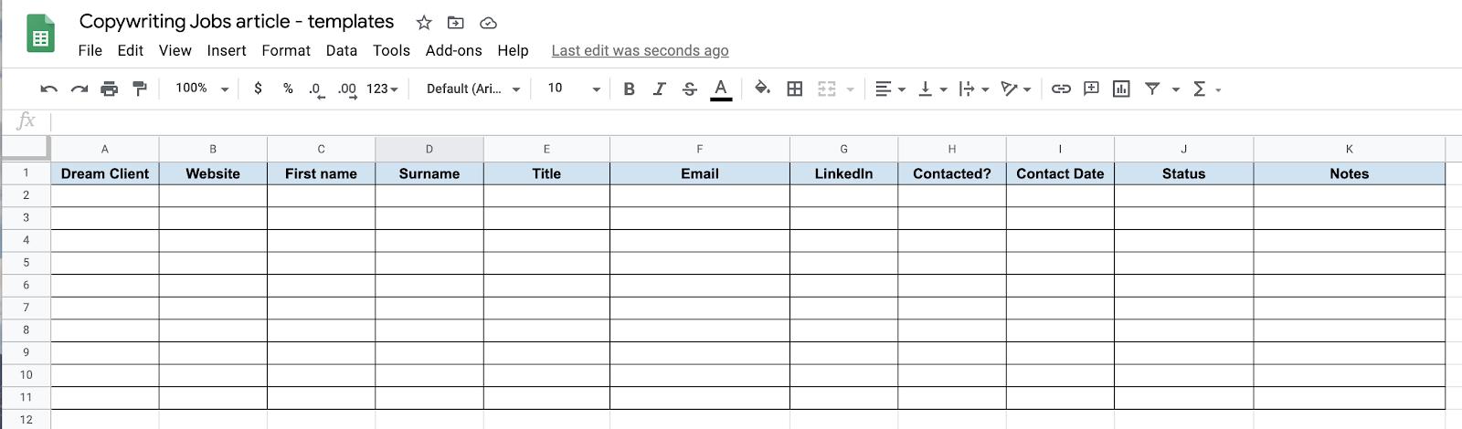Copywriting job application tracking spreadsheet